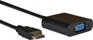 AQ KV106 - adaptér HDMI samec - VGA (D-SUB) samica + audio 3,5 mm Jack samica