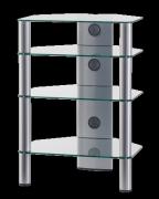 Stolík pre Hi-Fi komponenty RX 2140 číre sklo / strieborné nohy