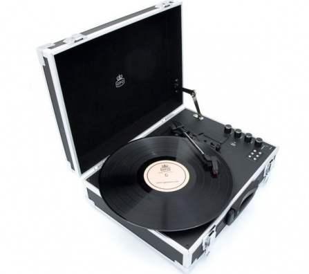 GPO Flight Turntable Black And Silver