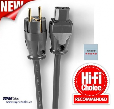 Síťový kabel Supra LoRad 2.5 CS-EU Silver Anniversary - 10-16A, délka 5m