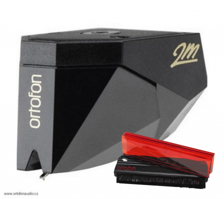 Ortofon 2M Black + Ortofon Carbon Fiber Record Brush Red