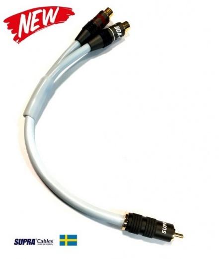 Y-Link adaptér pro subwoofery SUPRA Y-LINK 1RCA-2RCA MF BLUE 25CM