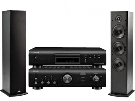 Denon PMA-600NE Black + DCD-600NE Black + Polk Audio T50 Black