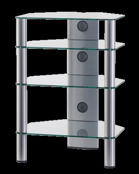 Stolek pro Hi-Fi komponenty RX 2140 čiré sklo/stříbrné nohy