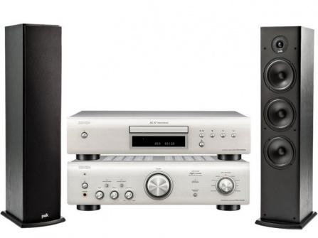 Denon PMA-600NE Silver + DCD-600NE Silver + Polk Audio T50 Black