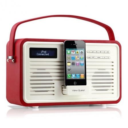 Rádio View Quest Colourgen retro červená